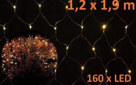 Nexos 5965 Vánoční osvětlení - LED světelná síť 1,2 x 1,9 m - teplá bílá, 160 diod