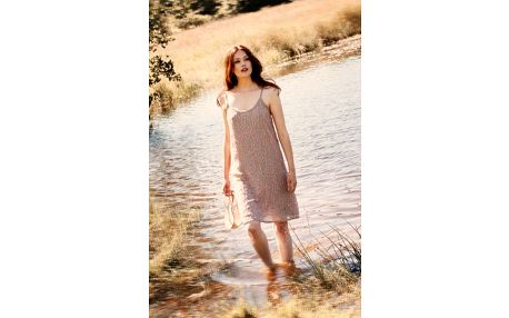 Šaty Sasha Velikost 42, béžová barva, textil