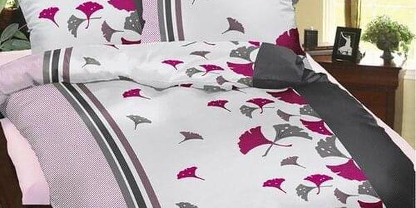 Bellatex Povlečení krep Purpurové vějířky , 140 x 220 cm, 70 x 90 cm