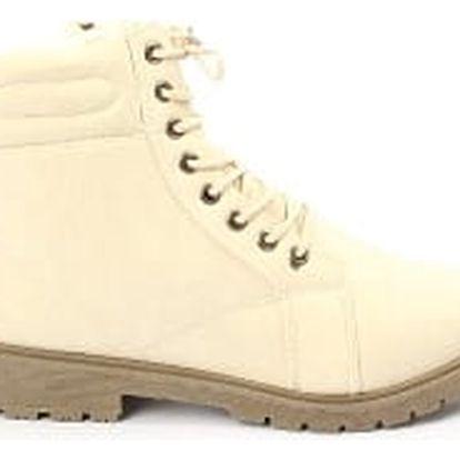 Zateplené dámské kotníkové boty bílé