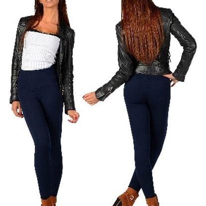 Elegantní dámské zateplené kalhoty tmavě mordé VOGUES