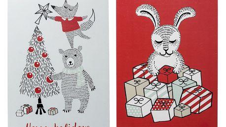 Bloomingville Vánoční kartička Twinkle - set 2 ks, červená barva, papír