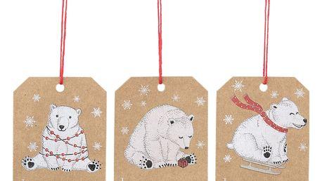 Bloomingville Vánoční dárkové štítky Bear - 6ks, hnědá barva, papír