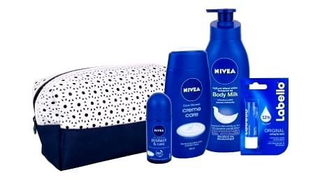 Nivea Creme Care dárková kazeta pro ženy sprchový gel Creme Care 250 ml + antiperspirant Protect & Care 50 ml + tělové mléko Body Milk 400 ml + balzám na rty Labello Original 4,8 g + taška