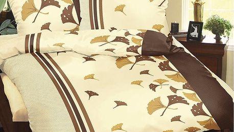Bellatex Povlečení bavlna Hnědé vějířky, 140 x 200 cm, 70 x 90 cm