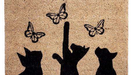 BO-MA Kokosová rohožka Kočky a motýli, 40 x 60 cm
