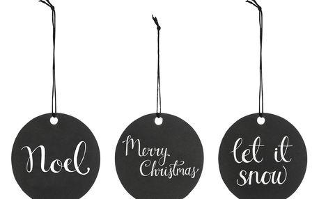 Bloomingville Vánoční štítky Black - 3 ks, černá barva, bílá barva, papír