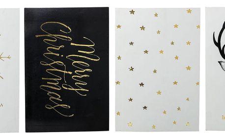 Bloomingville Vánoční kartička Noel - set 4 ks, zlatá barva, papír