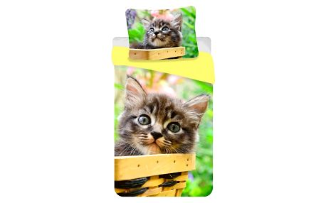 Jerry Fabrics Bavlněné povlečení Kočka mourek, 140 x 200 cm, 70 x 90 cm