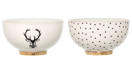 Bloomingville Keramická miska Noel Jelen, zlatá barva, krémová barva, keramika