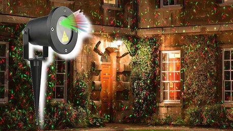 Vánoční laserový projektor - zelená/červená 8 světelných efektů - 20 x 20 m s časovačem AT53749