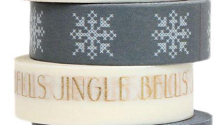 Bloomingville Designová samolepící páska Grey/Gold Jingle Bells, šedá barva, bílá barva, zlatá barva, papír