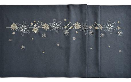 Sander Ubrus Christmas flake antracitová, 40 x 100 cm