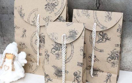 Chic Antique Dárkový sáček Angels - střední, béžová barva, hnědá barva, papír