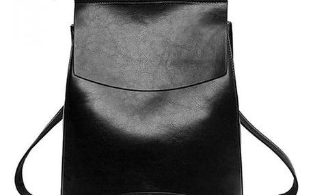 Městský elegantní batoh v imitaci kůže - černá barva - dodání do 2 dnů