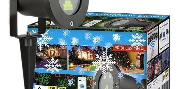 Vánoční laserový projektor - zelená/červená 8 světelných efektů - 20 x 20 m s časovačem AT537495