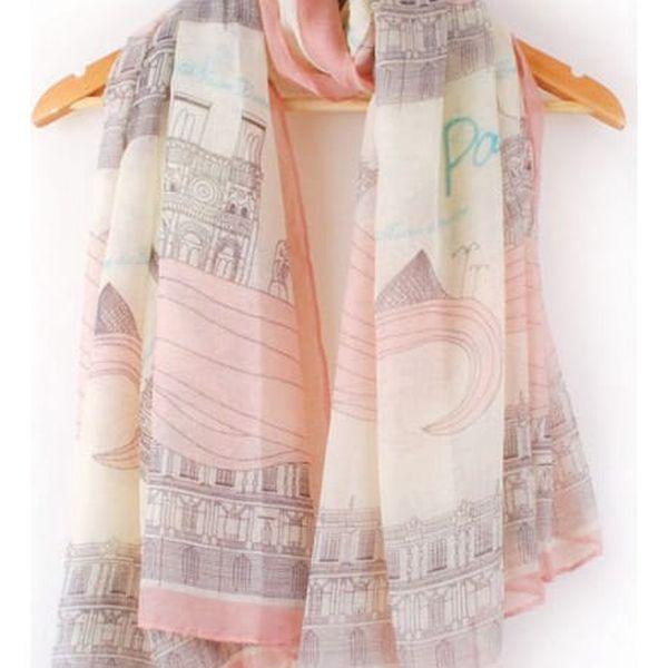 Elegantní podzimní šátek s motivy Paříže - růžový - dodání do 2 dnů