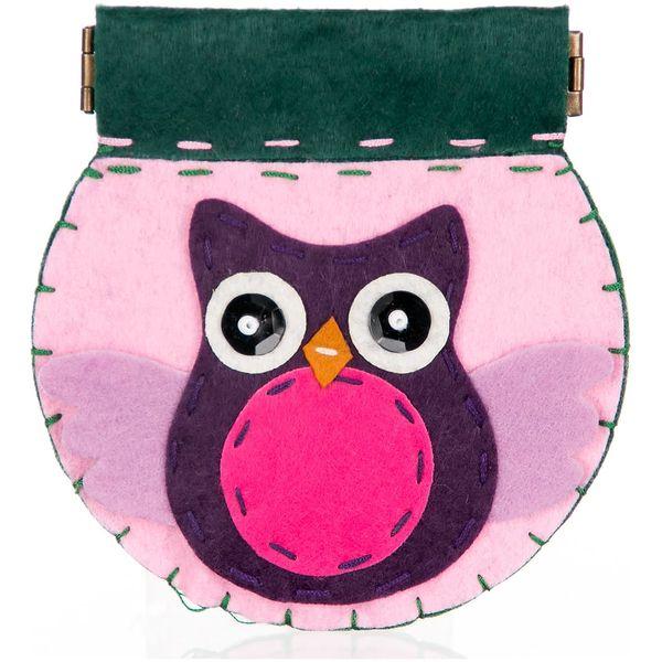 Fashion Icon Peněženka flísová ruční práce sova růžová