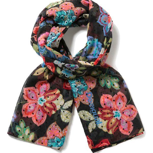 Desigual černý šátek Rectangle Caribou s barevným potiskem