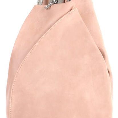 Asymetrický koženkový batoh starorůžová