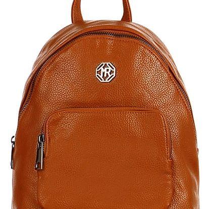 Koženkový batoh s přední kapsou hnědá