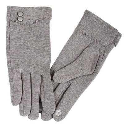 Dámské rukavice s ozdobnými knoflíky světle šedá