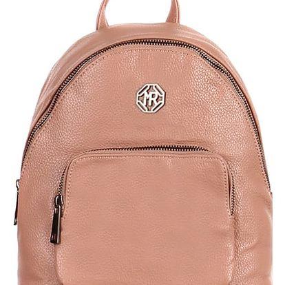 Koženkový batoh s přední kapsou růžová