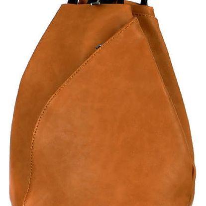 Asymetrický koženkový batoh hnědá
