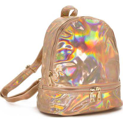 Holografický batoh Fashion Icon Rainbow lesklý mini