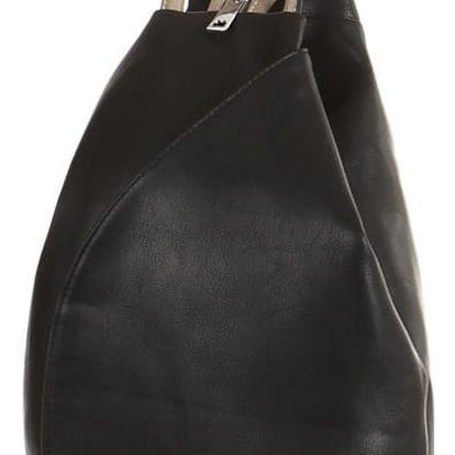 Asymetrický koženkový batoh černá/šedá