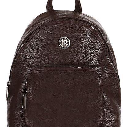 Koženkový batoh s přední kapsou tmavě hnědá