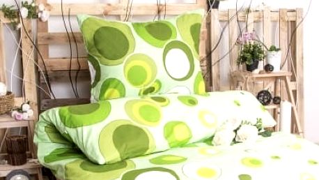 XPOSE ® Bavlněné povlečení na dvě lůžka ALICE - zelená 140x200, 70x90