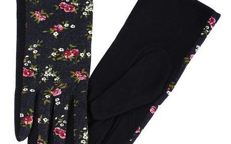 Dámské rukavice s květinovým potiskem modrá