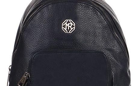 Koženkový batoh s přední kapsou modrá