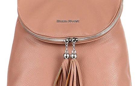 Koženkový batoh se střapci růžová