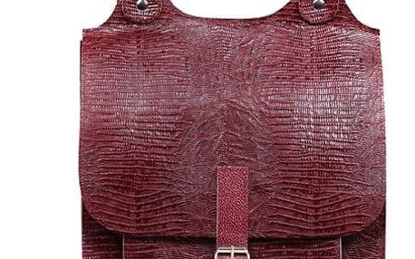 Velký kožený batoh s přezkou - Česká výroba vínová