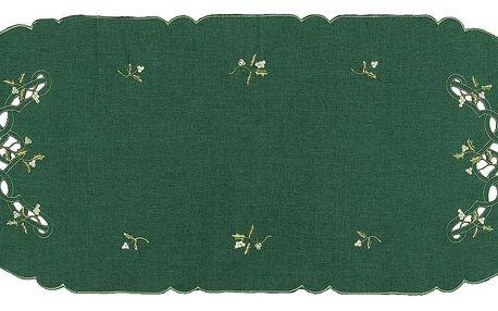 Forbyt Vánoční ubrus jmelí zelená,, 40 x 90 cm