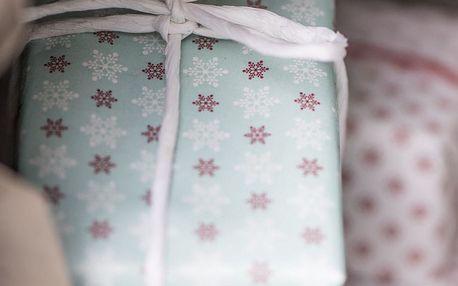 IB LAURSEN Balící papír Snowflakes Mint/red/white - 10 m, červená barva, zelená barva, papír