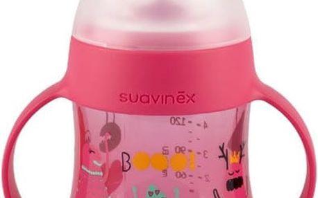 SUAVINEX První lahvička s oušky Booo Nerozlitná savička 150 ml (+4m) – růžová