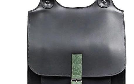Velký kožený batoh s přezkou - Česká výroba černá/zelená