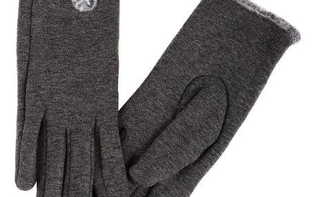 Dámské rukavice s kožíškem šedá