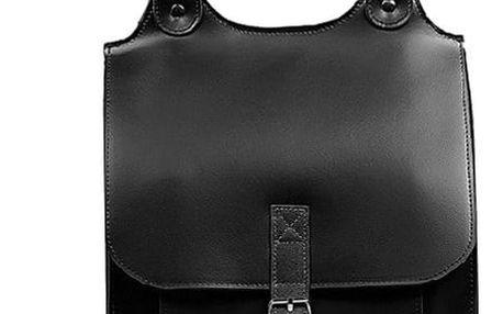 Velký kožený batoh s přezkou - Česká výroba černá