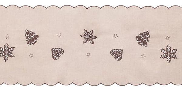 Forbyt Vánoční ubrus Perníčky béžová, 35 x 160 cm, 35 x 160 cm