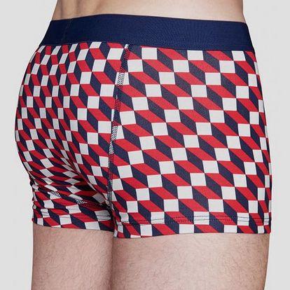 Boxerky Happy Socks barevné (červené) se vzorem Filled Optic Červená