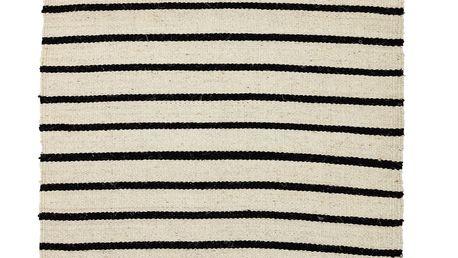Bloomingville Bavlněný koberec Black Stripe 70x240 cm, béžová barva, černá barva, přírodní barva, textil