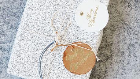 MONOGRAPH Kulaté vánoční kartičky X-mas - 6 ks, modrá barva, bílá barva, hnědá barva, zlatá barva, papír