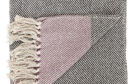 Bloomingville Bavlněný přehoz Rose, růžová barva, šedá barva, textil