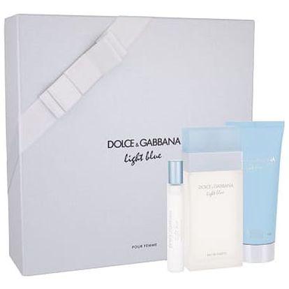 Dolce&Gabbana Light Blue EDT dárková sada W - EDT 100 ml + tělový krém 100 ml + EDT 7,4 ml