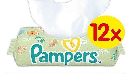 12x PAMPERS Natural Clean 64 ks - vlhčené ubrousky