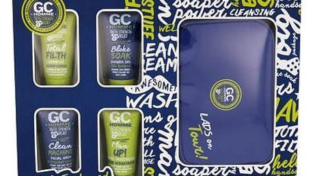 Grace Cole Homme Bloke Soak sprchový gel dárková sada M - sprchový gel Bloke Soak 50 ml + šampon Total Filth 50 ml + čisticí přípravek Clean Machine 50 ml + pleťová péče Man Up! 50 ml + kosmetická taška
